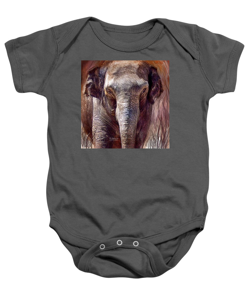 Elephant Baby Onesie featuring the mixed media The Mighty One by Carol Cavalaris
