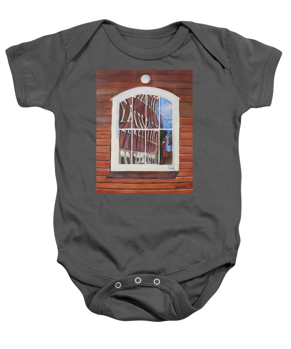 Window Baby Onesie featuring the painting The Mill House Reflects Upon Itself by Jenny Armitage