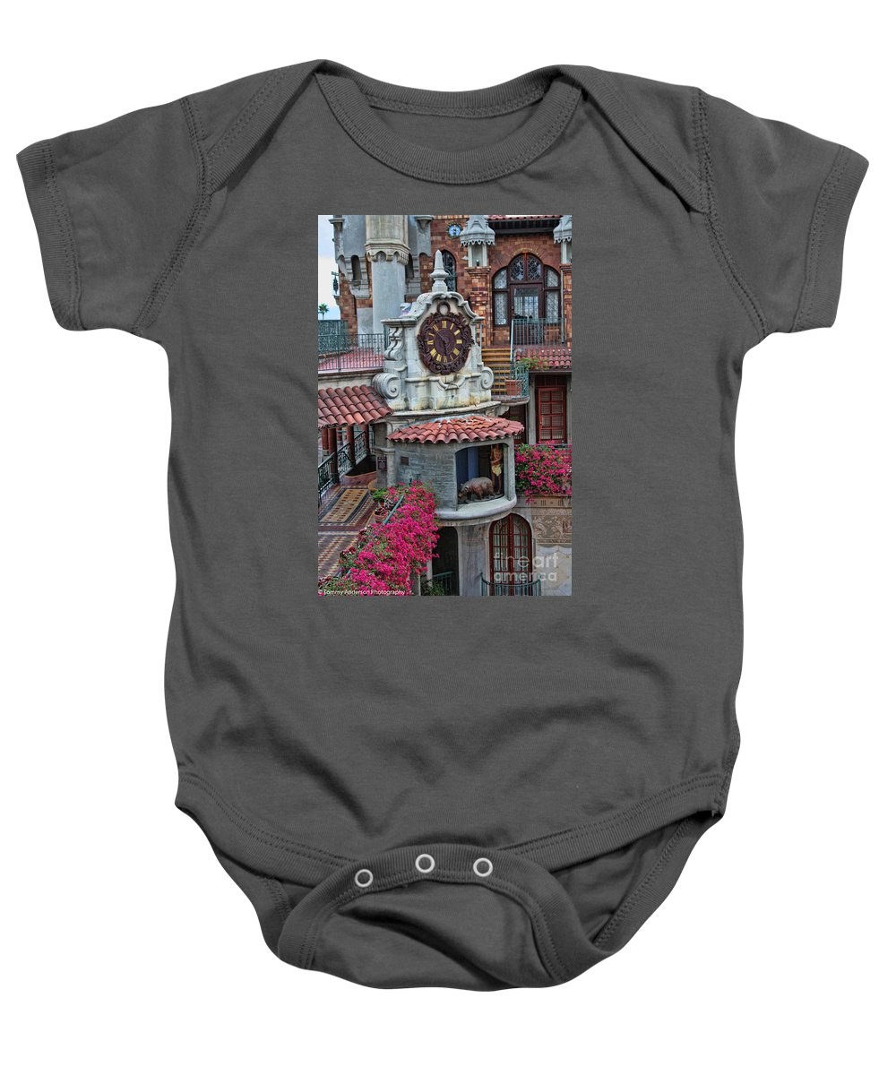 Mission Inn Baby Onesie featuring the photograph The Mission Inn Clock Tower by Tommy Anderson