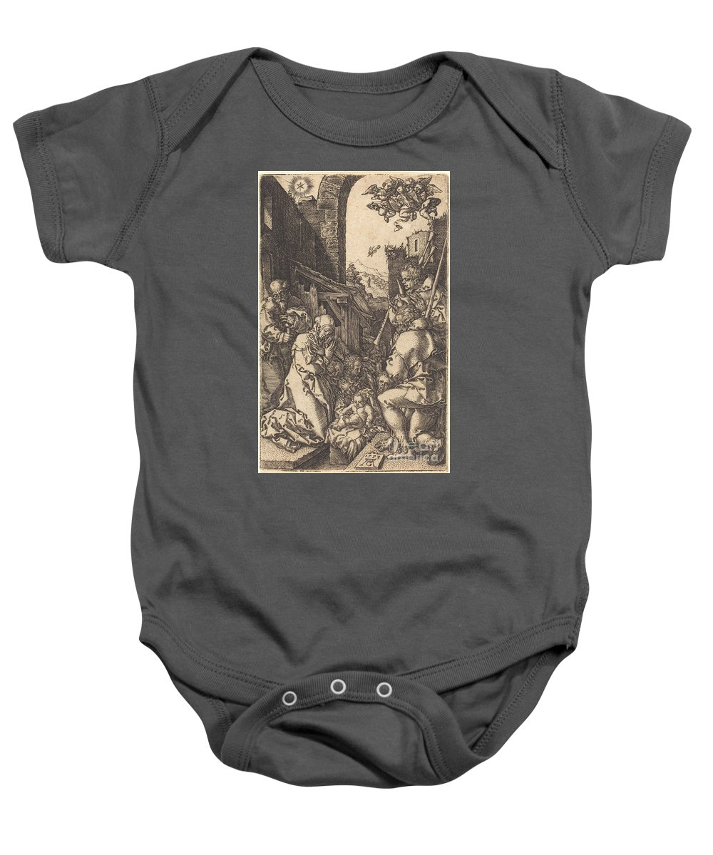 Baby Onesie featuring the drawing The Nativity by Heinrich Aldegrever