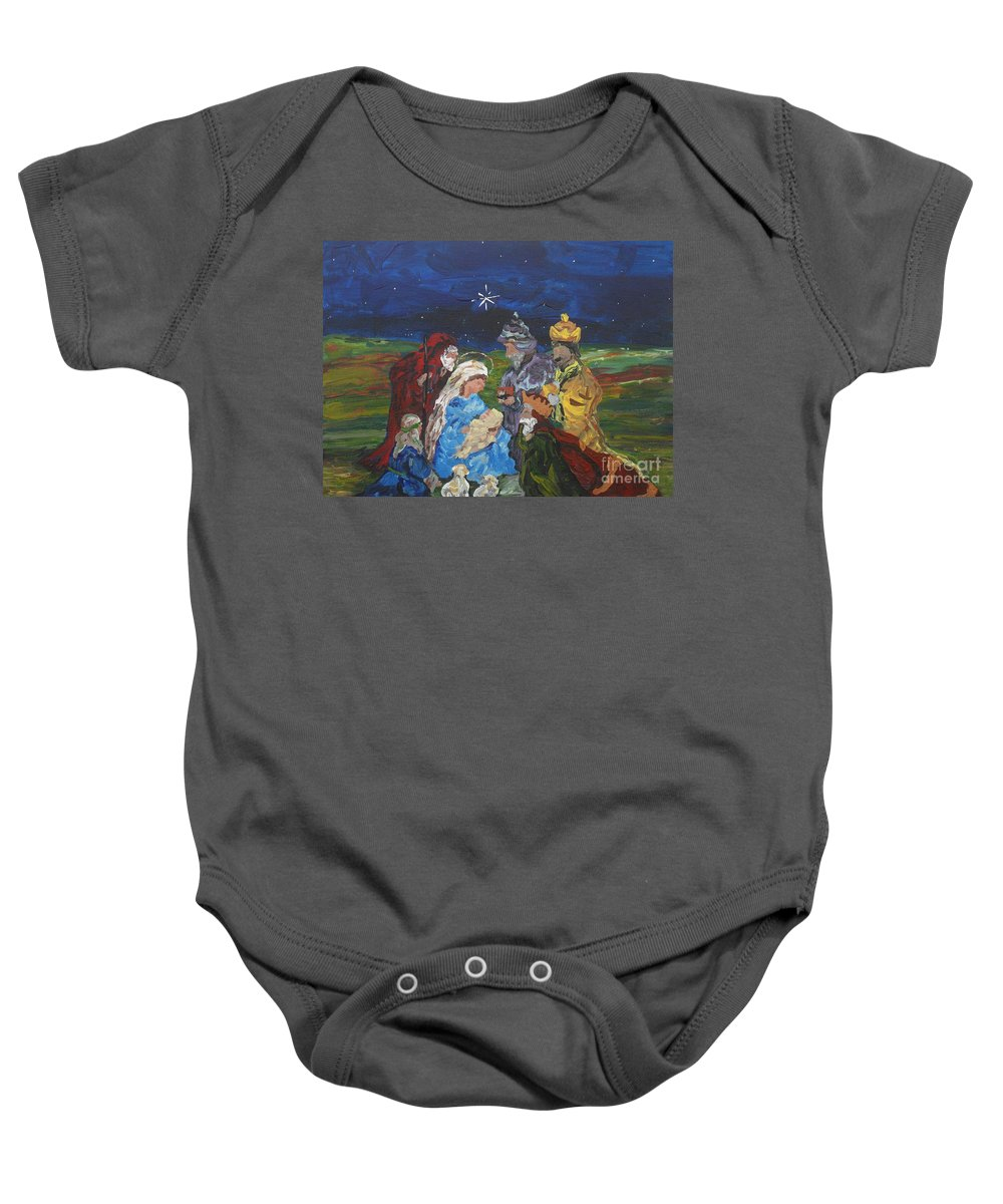 Nativity Baby Onesie featuring the painting The Nativity by Reina Resto