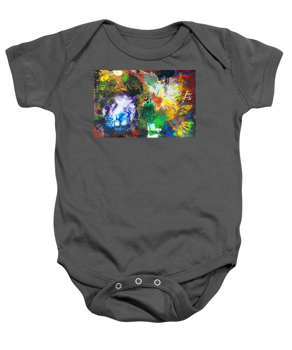 Abstract Baby Onesie featuring the painting The Next Chapter by Sally Trace