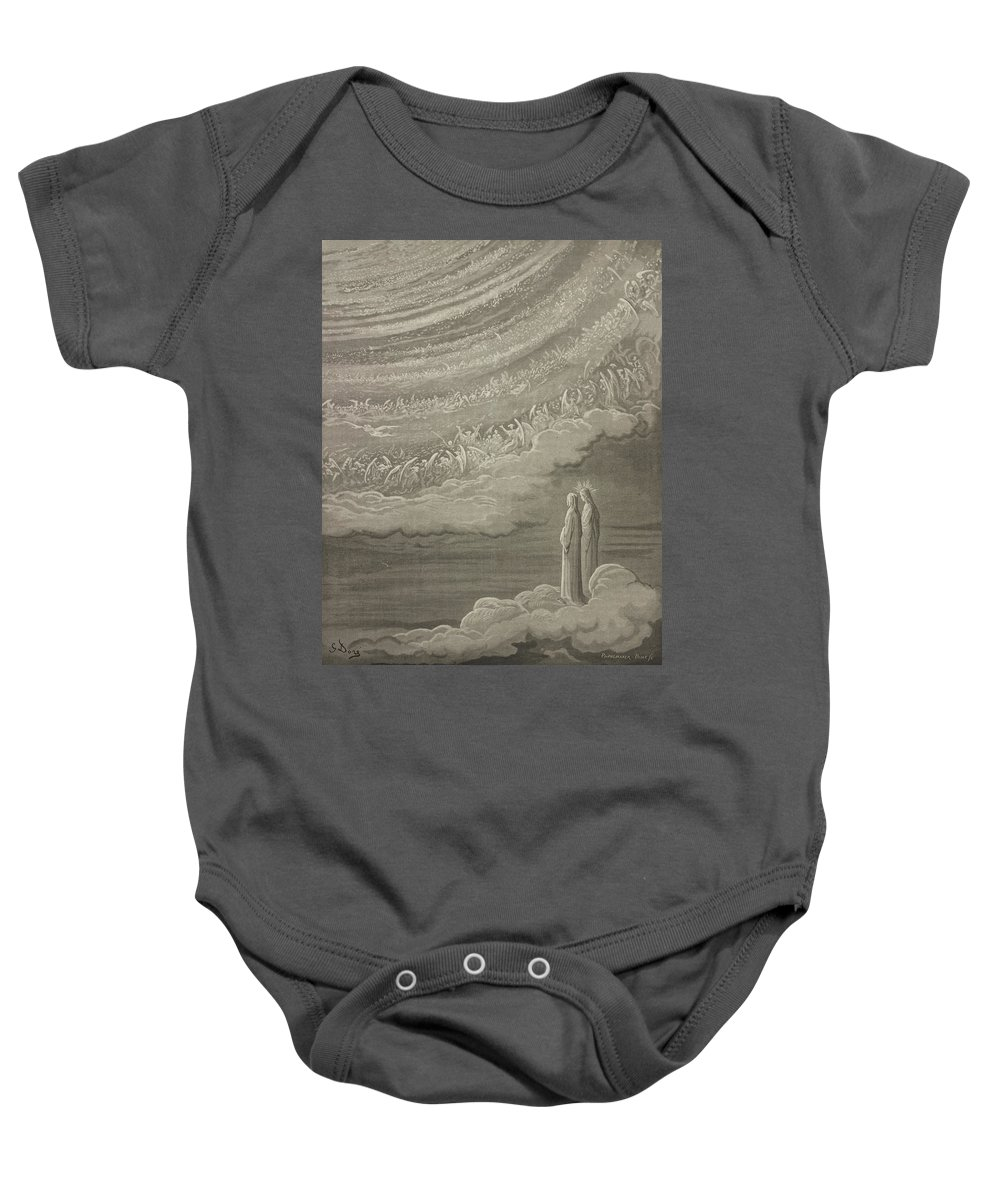 Gustave Dore Baby Onesie featuring the drawing The Ninth Heaven by Gustave Dore