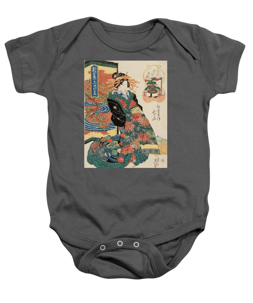 The Baby Onesie featuring the painting The Ninth Month Ch Y by Eisen Keisai