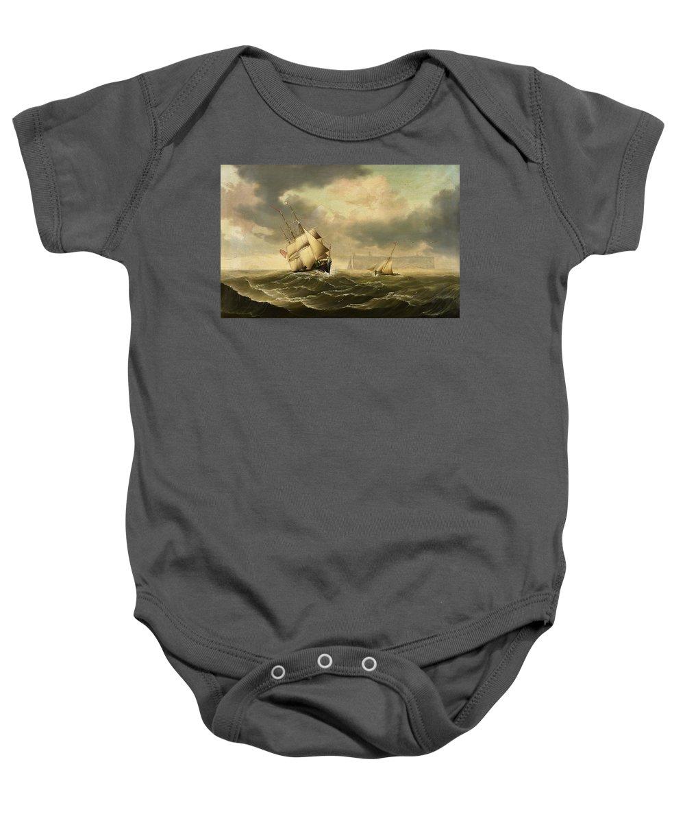 Carl Justus Harmen Fedeler Baby Onesie featuring the painting The Olbers At Sea by Carl Justus