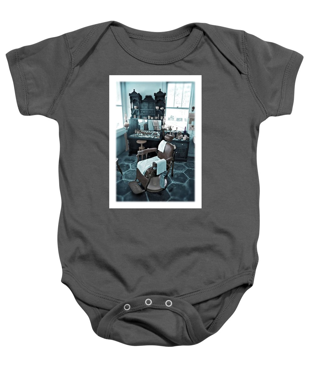 Barber Baby Onesie featuring the photograph The Old American Barbershop by Mal Bray