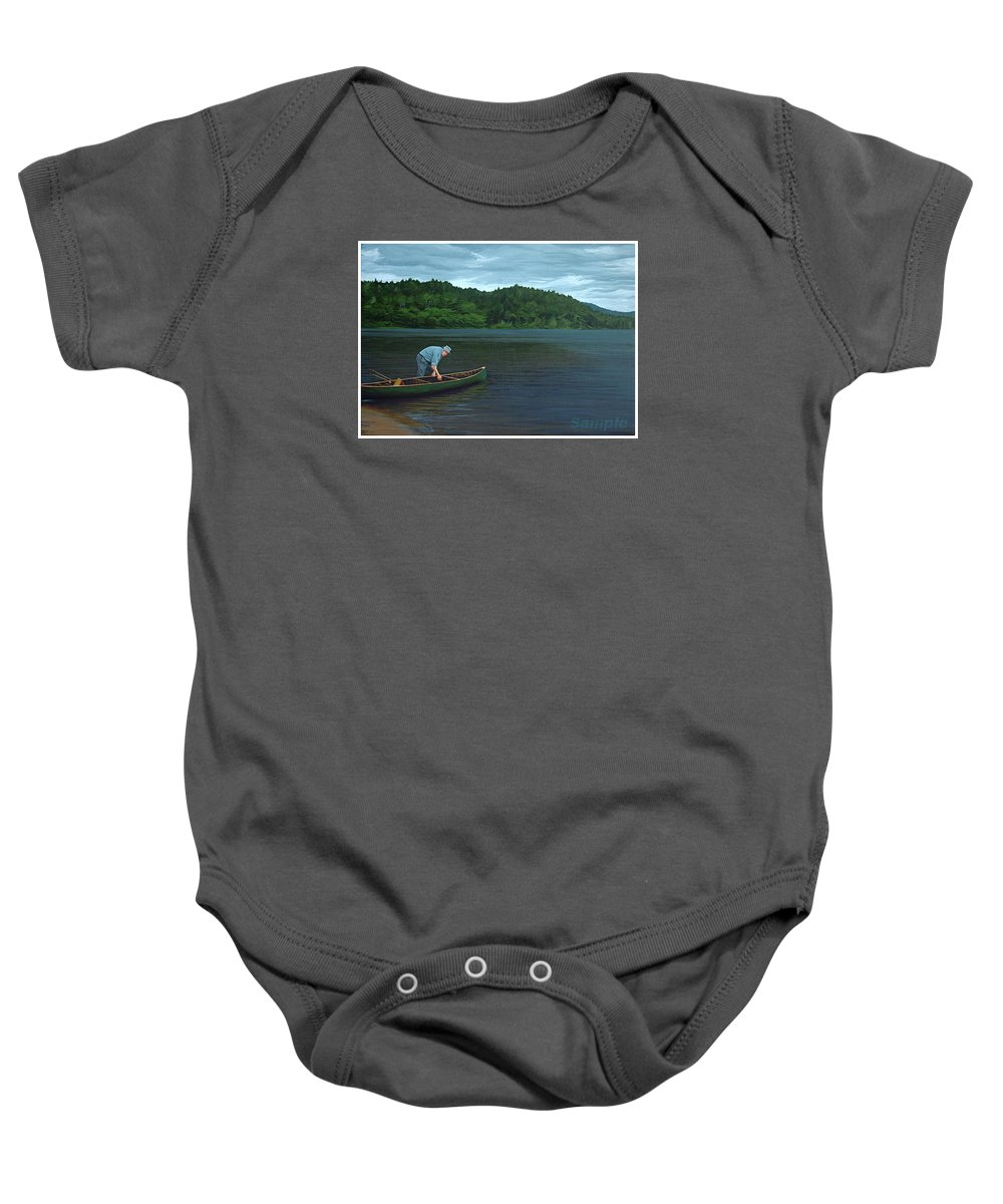 Landscape Baby Onesie featuring the painting The Old Green Canoe by Jan Lyons