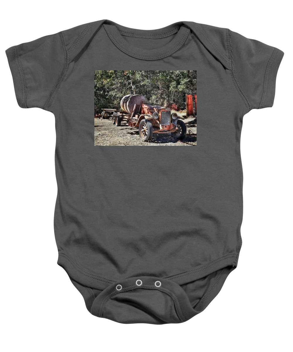 Gilroy Baby Onesie featuring the photograph The Old Jalopy In Wine Country, California by Mary Capriole