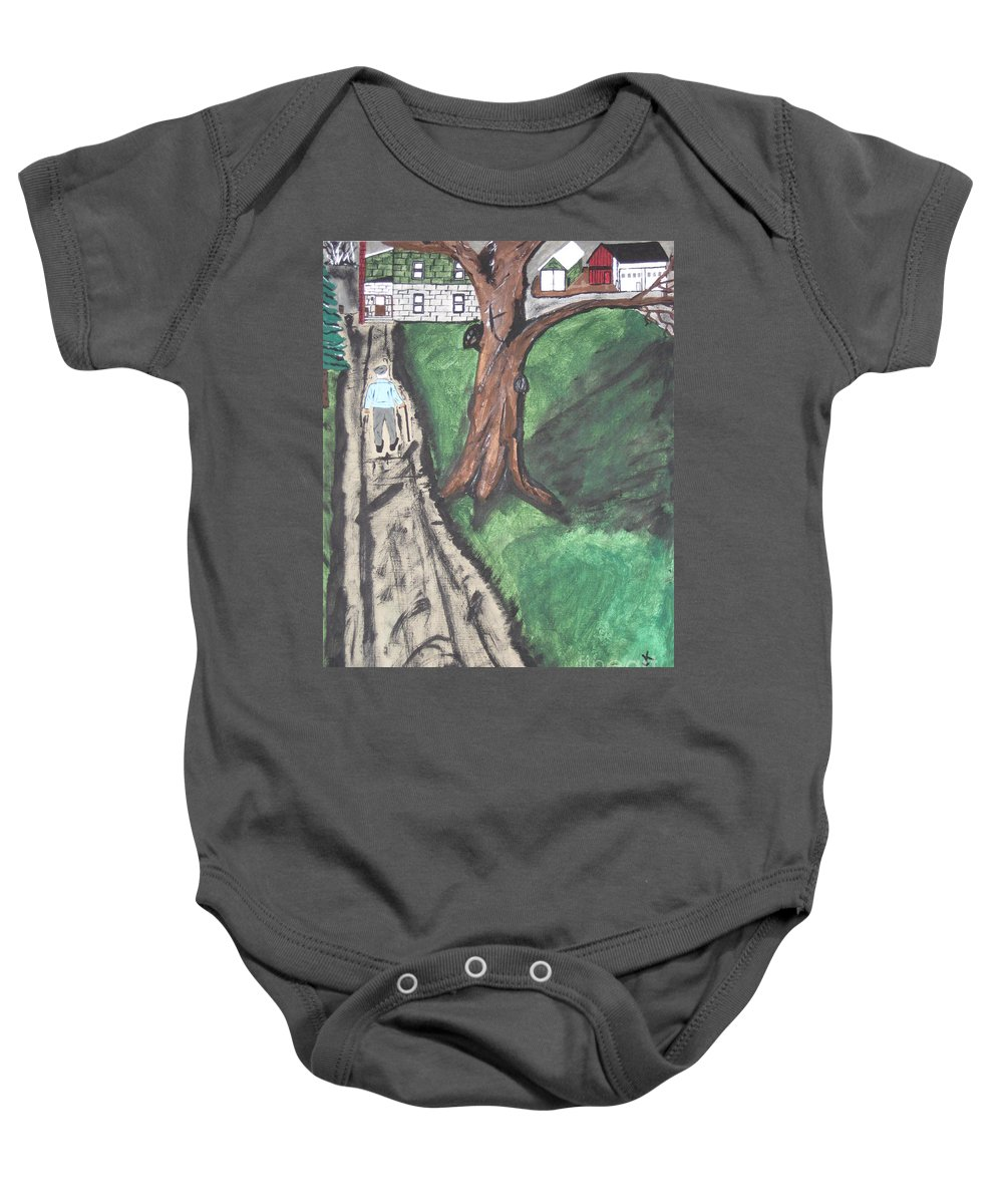 Tree Baby Onesie featuring the painting The Old Meat Cutter Griff by Jeffrey Koss