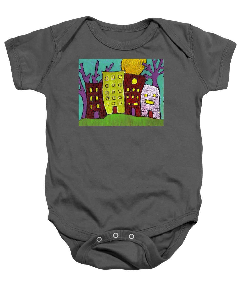 Buildings Baby Onesie featuring the painting The Old Neighborhood by Wayne Potrafka
