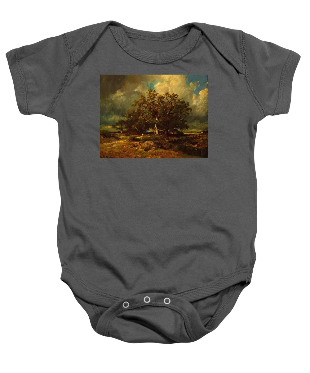 The Baby Onesie featuring the painting The Old Oak 1870 by Dupre Jules