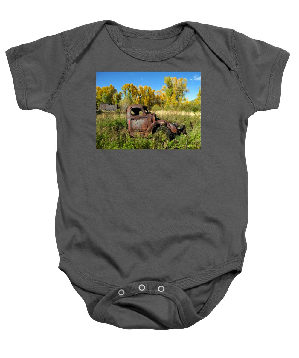 Truck Baby Onesie featuring the photograph The Old Truck Chama New Mexico by Kurt Van Wagner