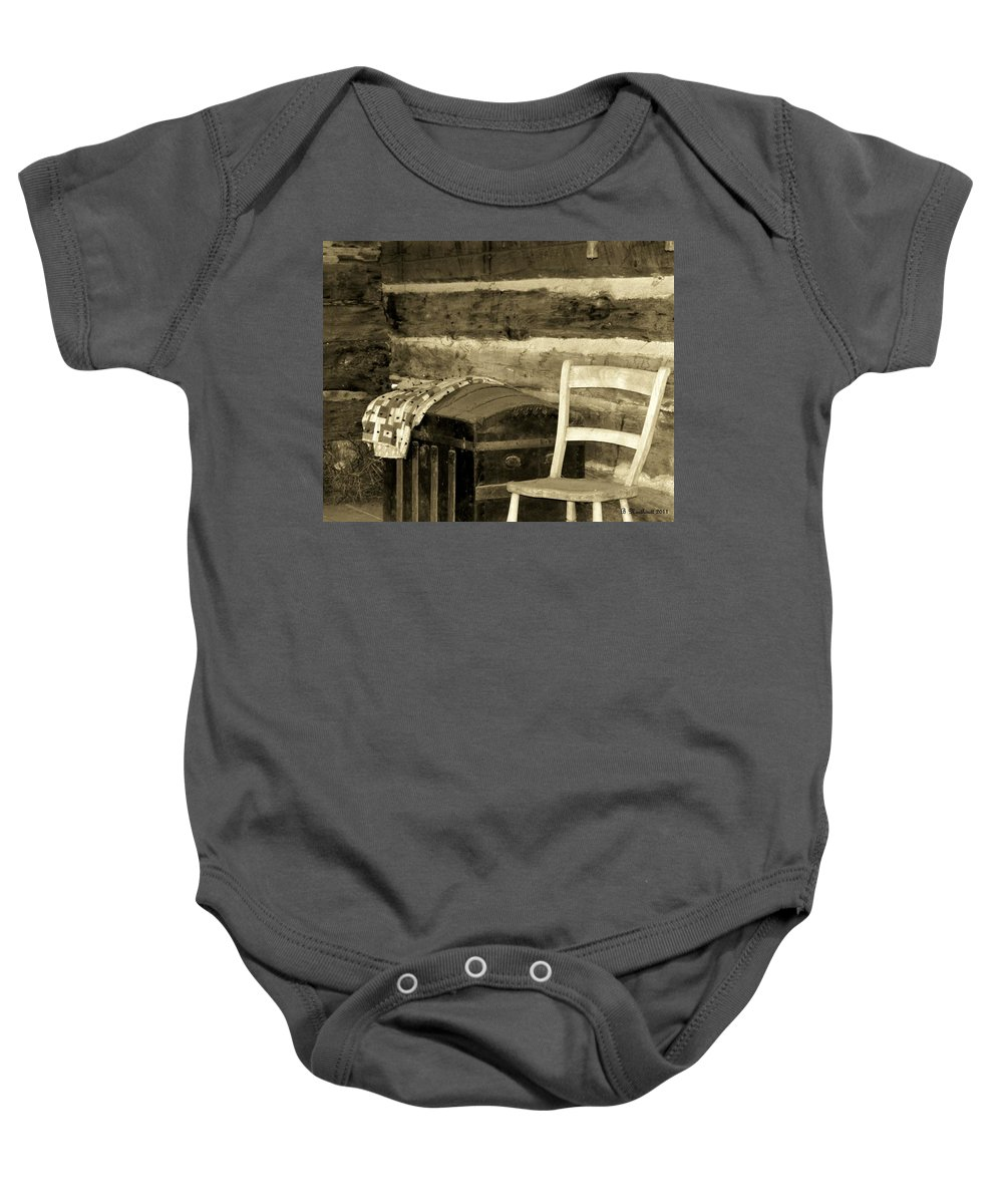 Trunk Baby Onesie featuring the photograph The Old Trunk by Betty Northcutt
