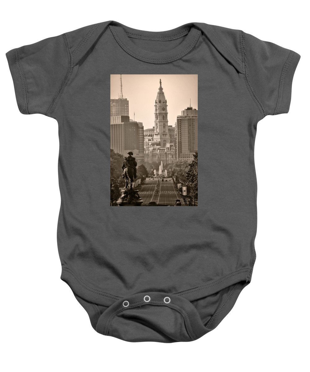 Benjamin Franklin Parkway Baby Onesie featuring the photograph The Parkway In Sepia by Bill Cannon