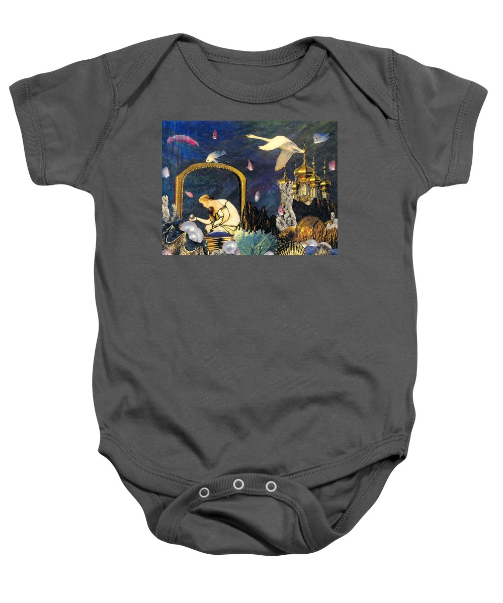 Surealism Baby Onesie featuring the mixed media The Pearl Of Great Price by Gail Kirtz