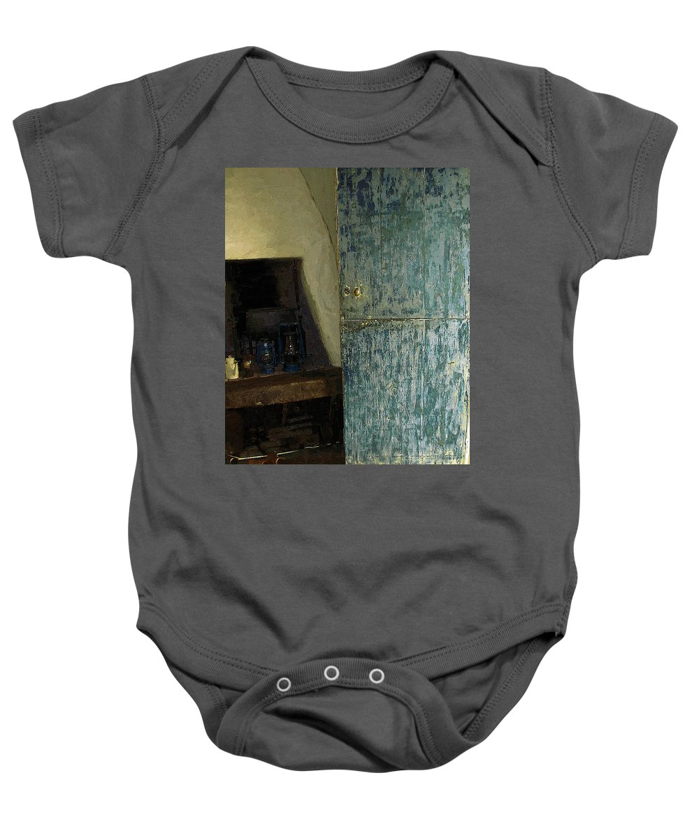 Cookstove Baby Onesie featuring the painting The Peasant's Dwelling by RC DeWinter