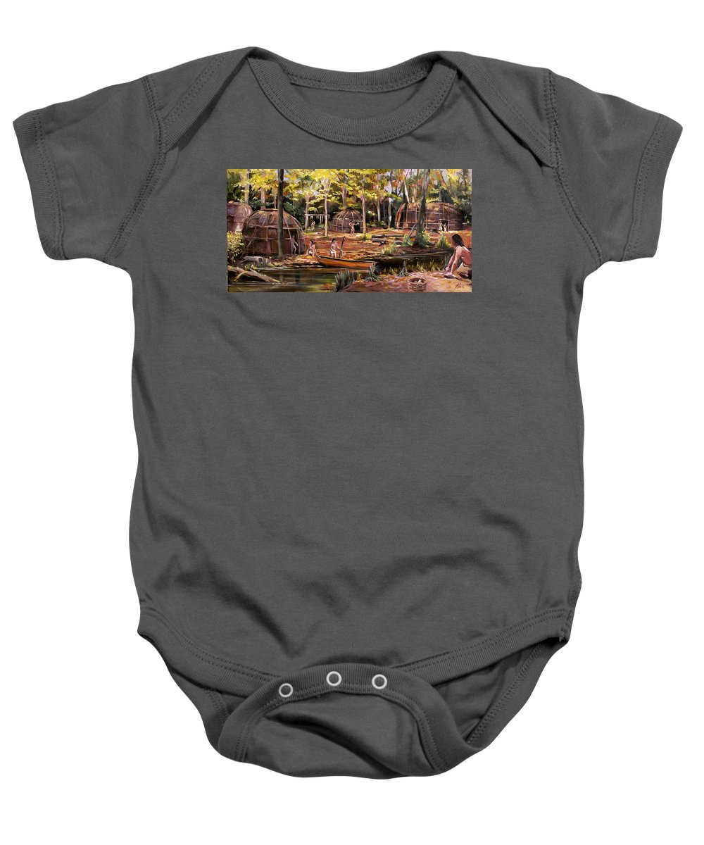 Institute Of American Indian Baby Onesie featuring the painting The Pequots by Nancy Griswold