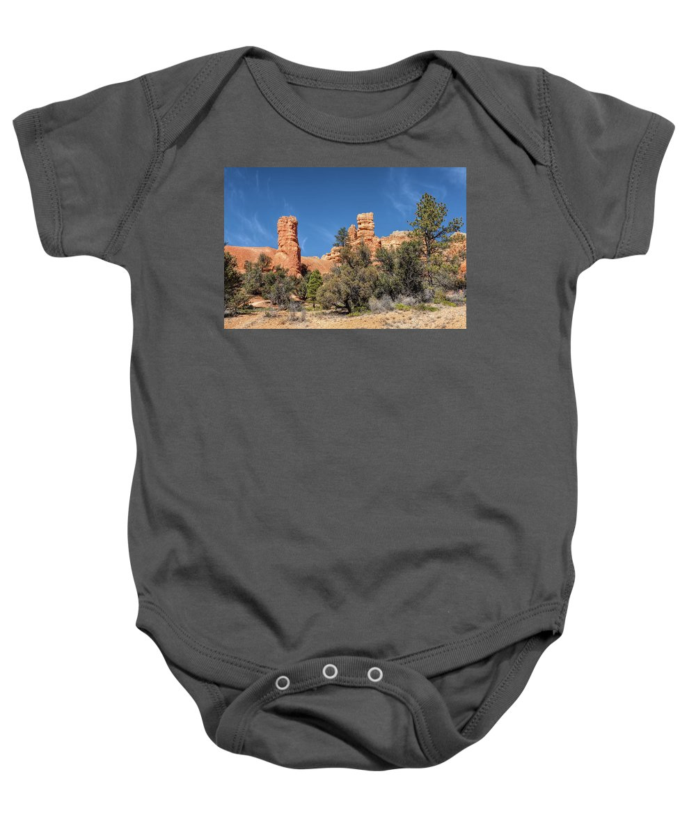 Adventure Baby Onesie featuring the photograph The Pillars by John M Bailey