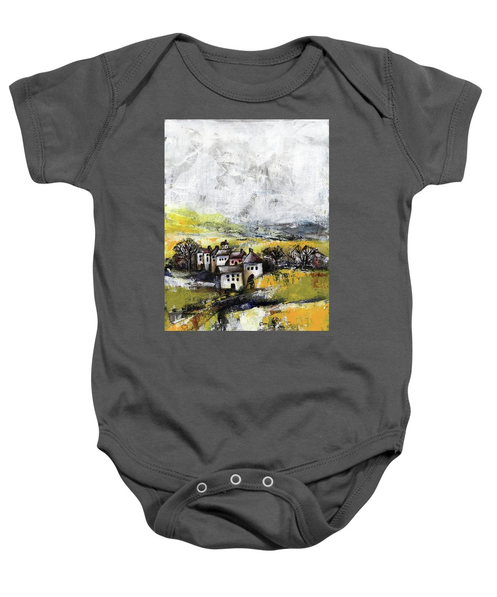 Landscape Baby Onesie featuring the painting The Pink House by Aniko Hencz