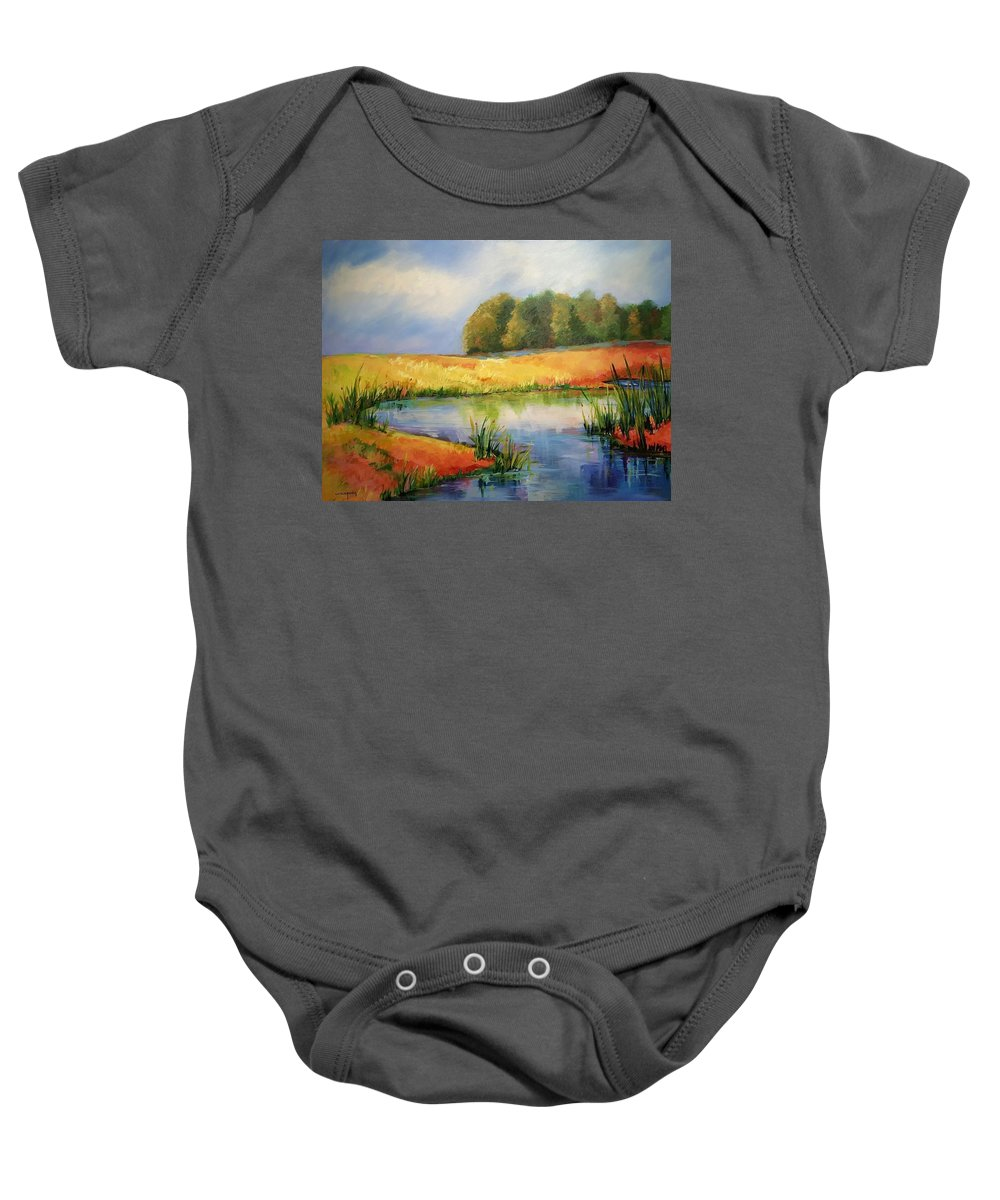 Ponds Baby Onesie featuring the painting The Pond by Ginger Concepcion
