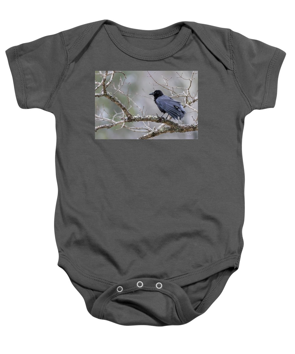 Crow Baby Onesie featuring the photograph The Preening Crow by Everet Regal