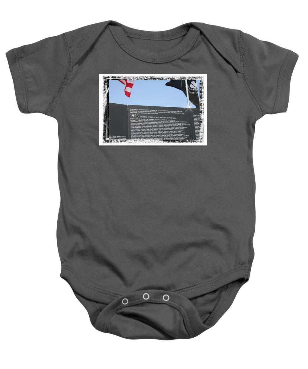 Cost Baby Onesie featuring the digital art The Price Of Freedom by Gary Baird