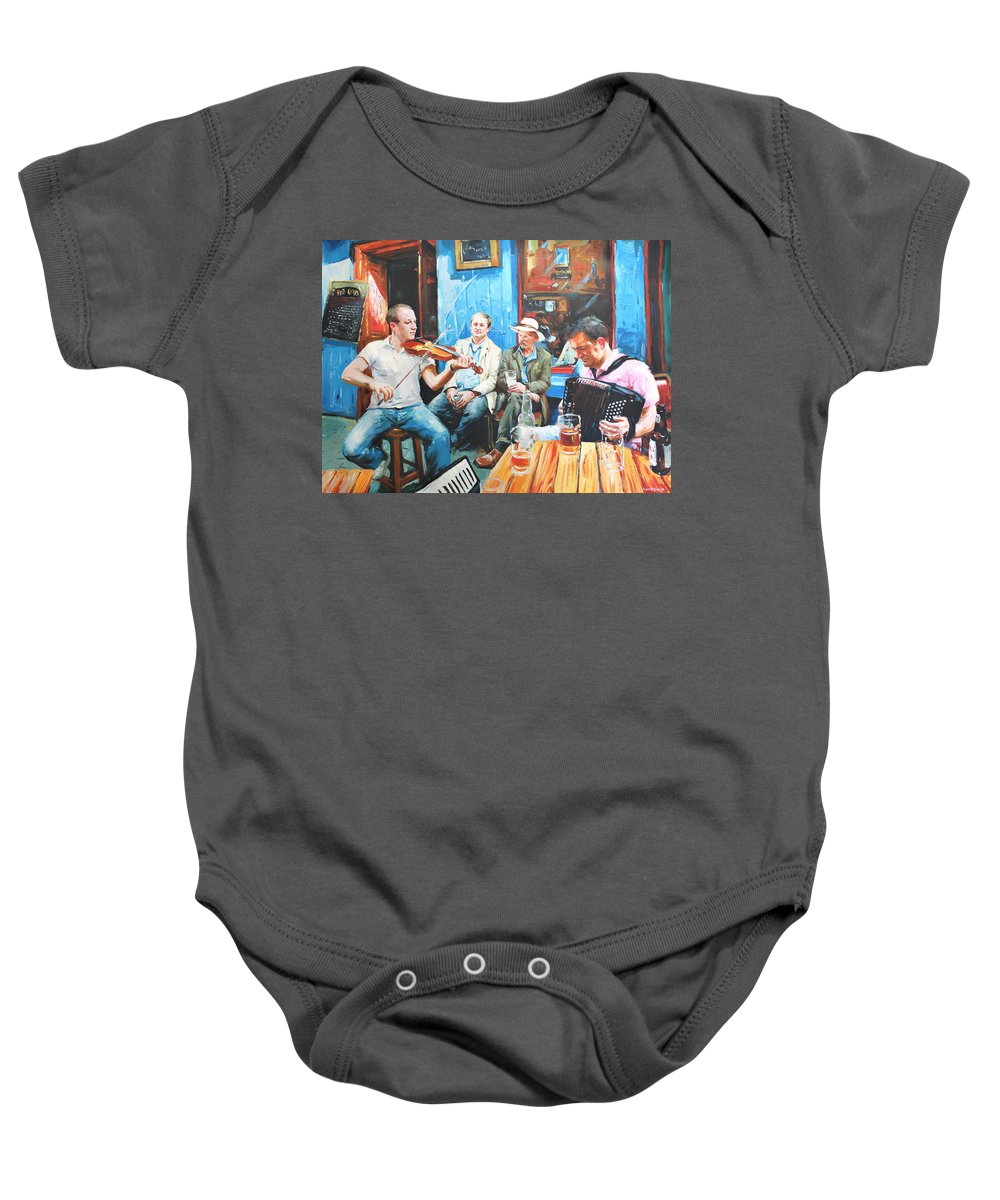 Streetscape Baby Onesie featuring the painting The Quay Players by Conor McGuire