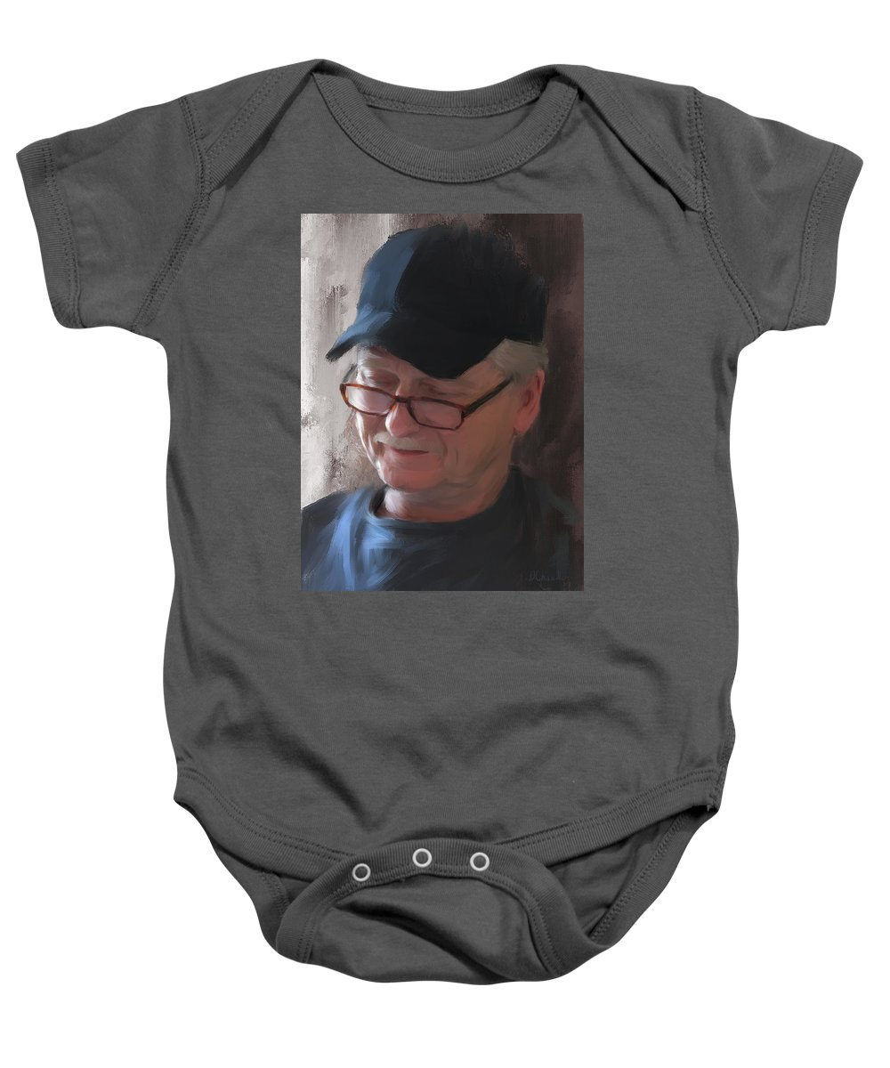 Man Baby Onesie featuring the painting The Reader by Diane Chandler