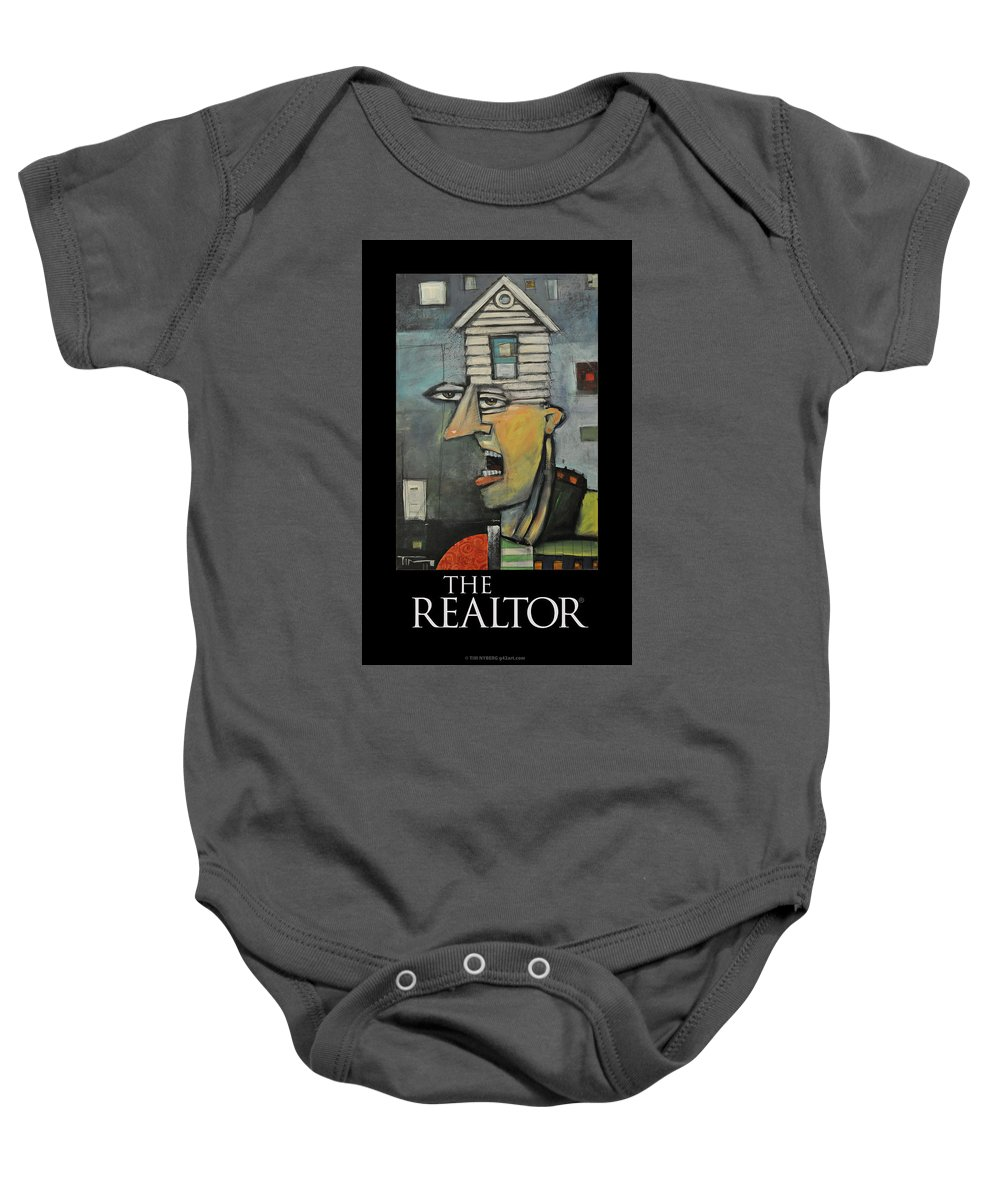 Realtor Baby Onesie featuring the painting The Realtor Poster by Tim Nyberg