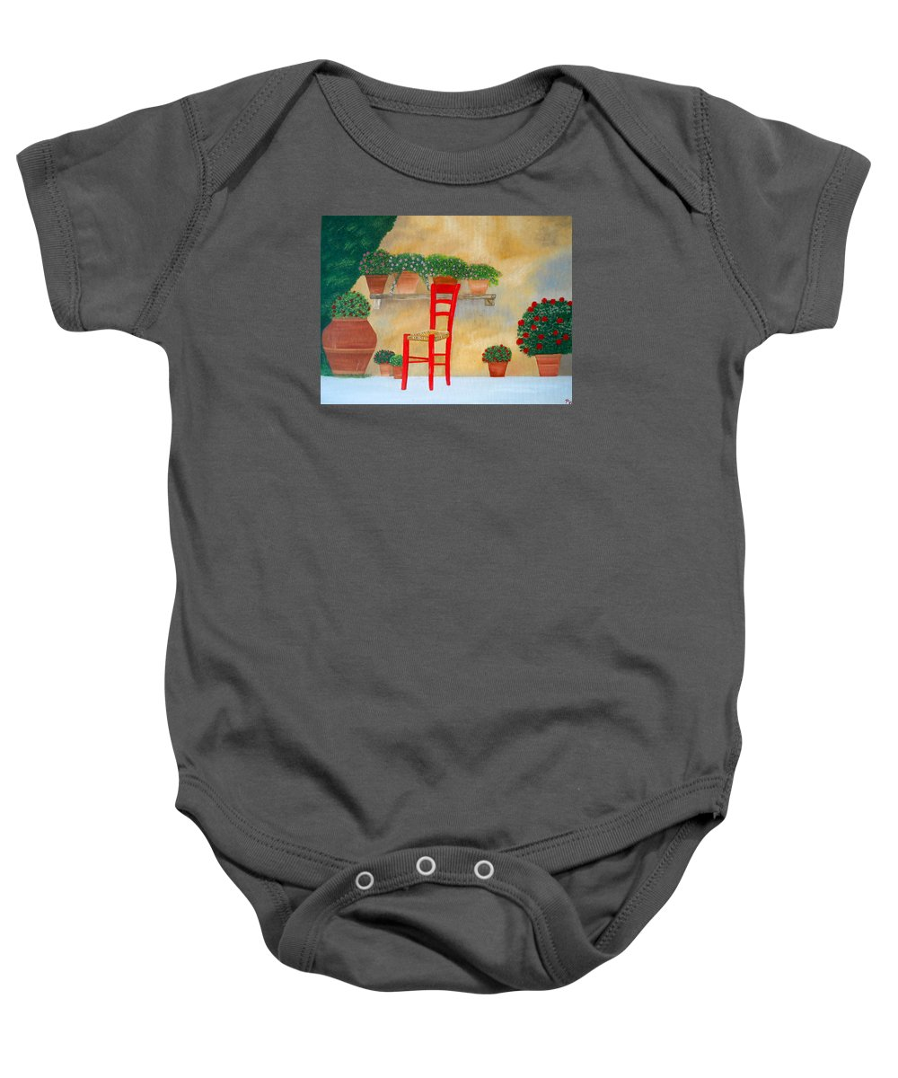 Tuscany Baby Onesie featuring the painting The Red Chair, Tuscany by Sandra Lorant