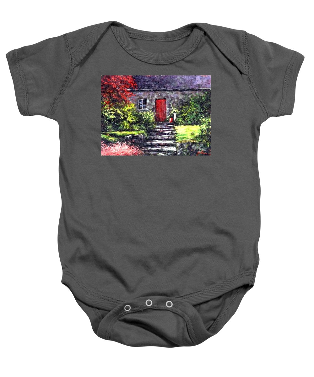 Ireland Baby Onesie featuring the painting The Red Door by Jim Gola