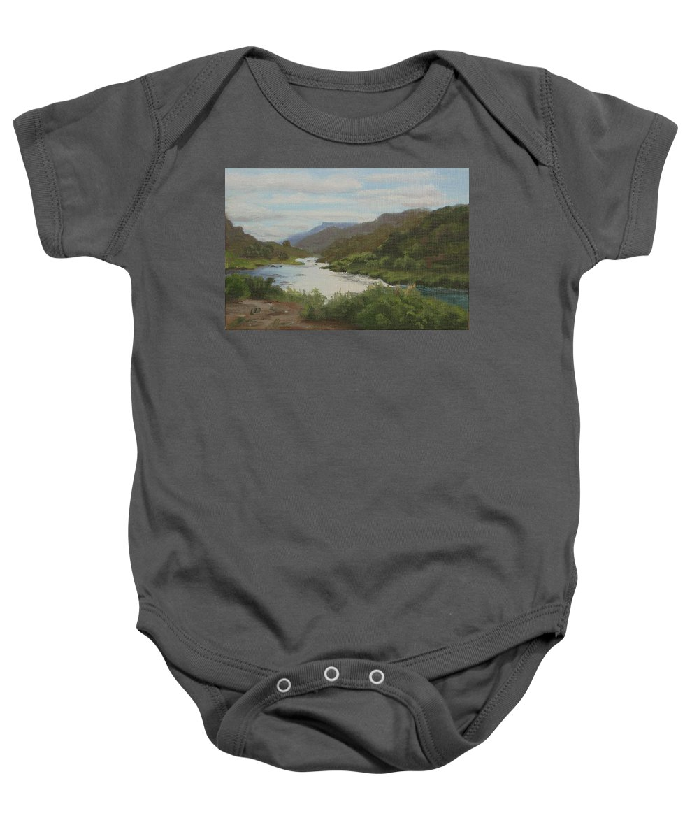 Landscape Baby Onesie featuring the painting The Rio Grande Between Taos And Santa Fe by Lea Novak