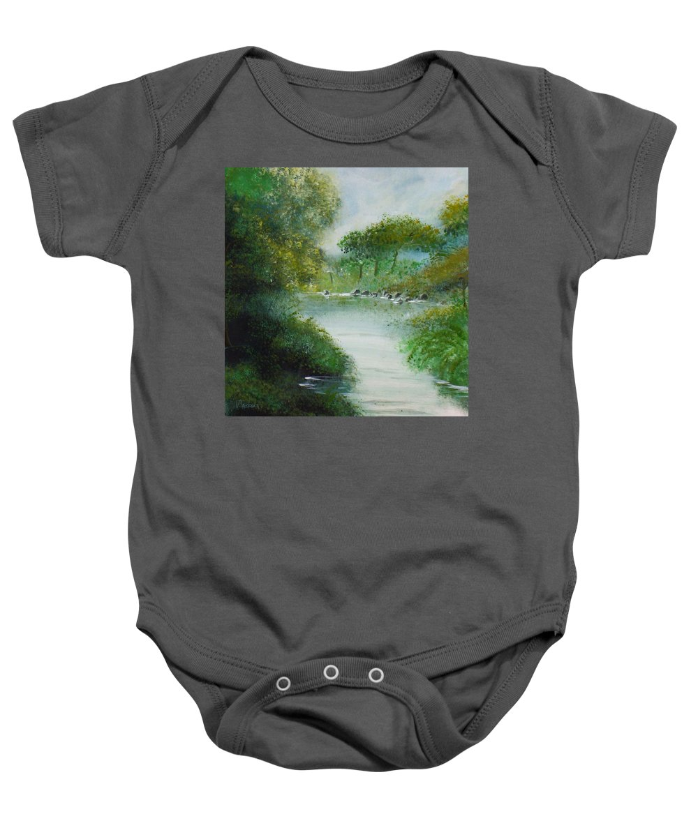 River Water Trees Clouds Leaves Nature Green Baby Onesie featuring the painting The River by Veronica Jackson