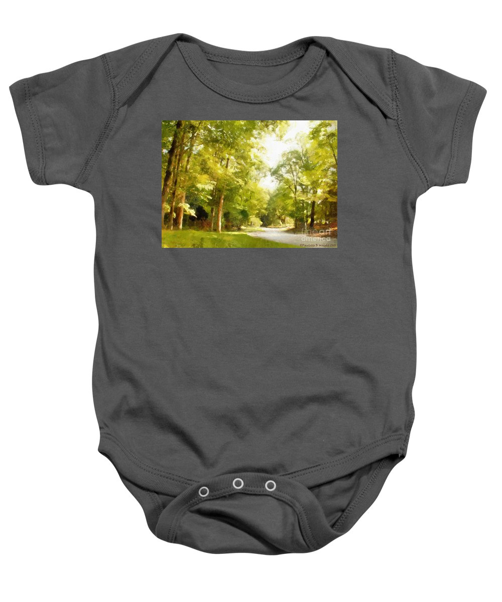 Road Baby Onesie featuring the photograph The Road Home by Paulette B Wright
