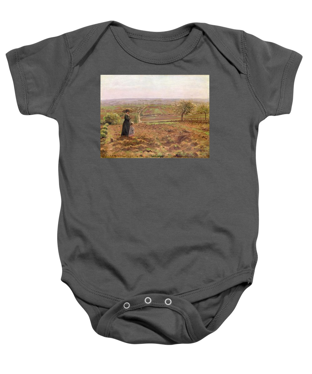 The Baby Onesie featuring the painting The Road To Rouen by Camille Pissarro