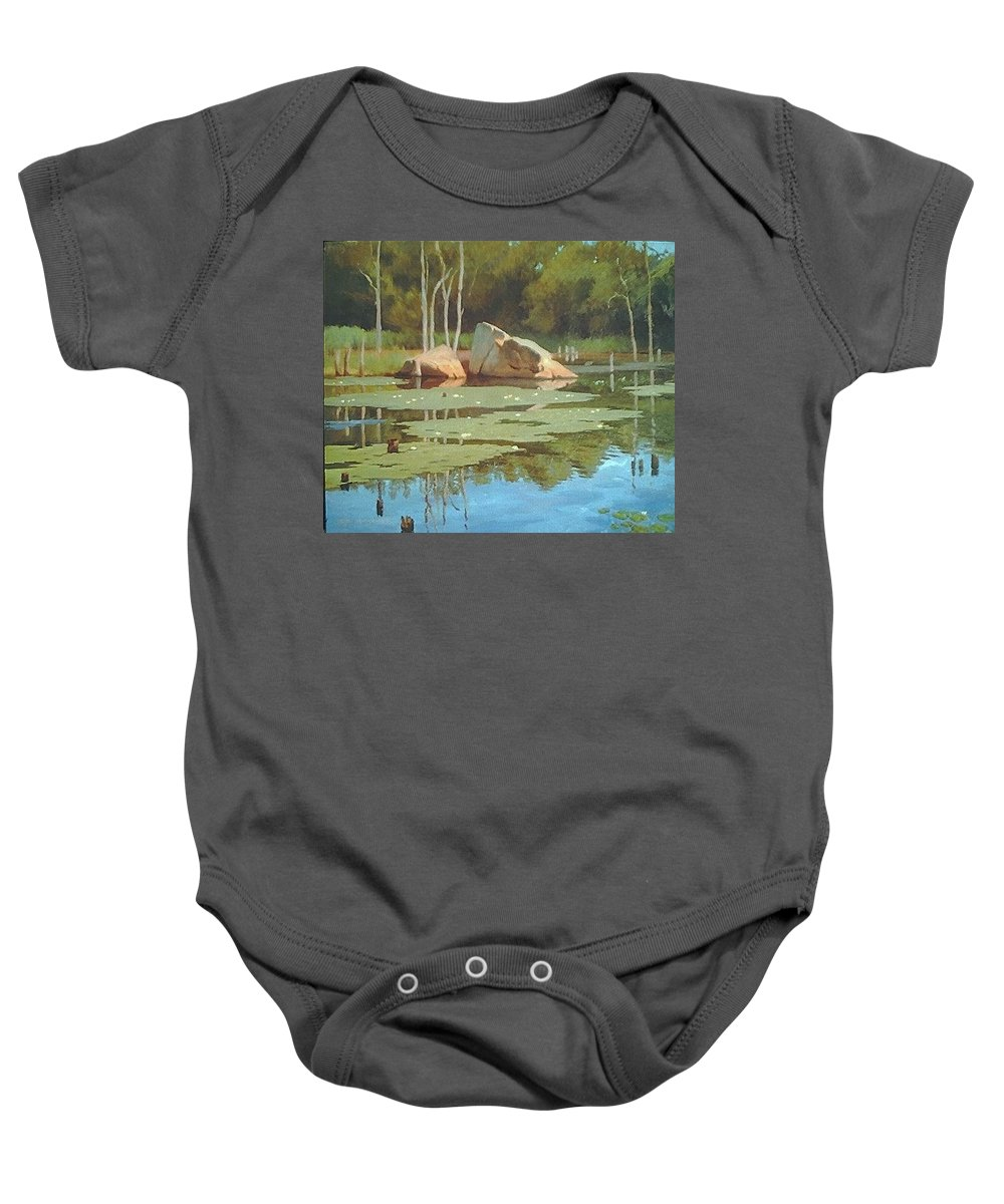 Landscape Baby Onesie featuring the painting The Rock by Dianne Panarelli Miller
