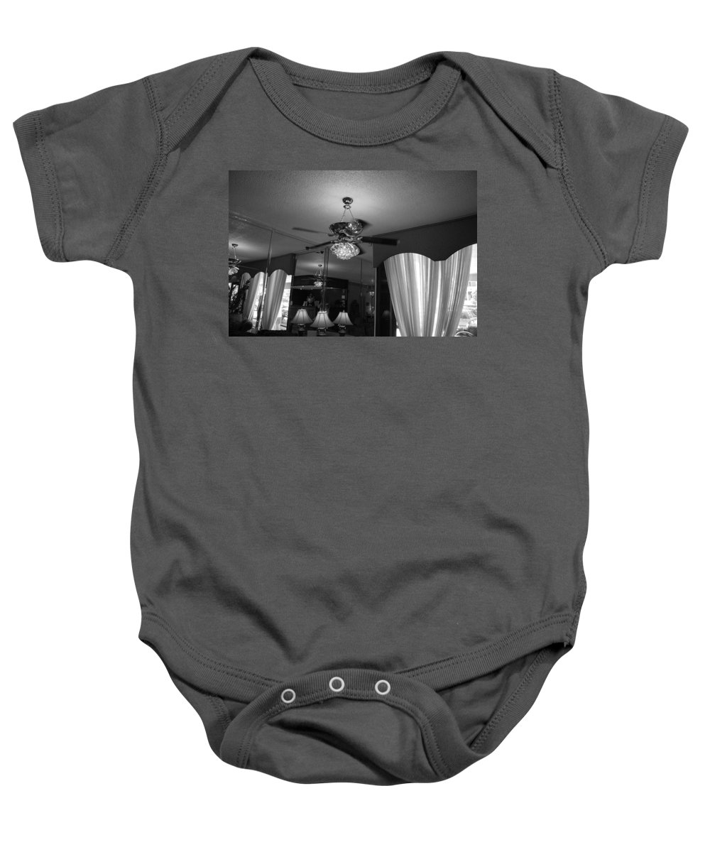 Black And White Baby Onesie featuring the photograph The Room With Many Views by Rob Hans