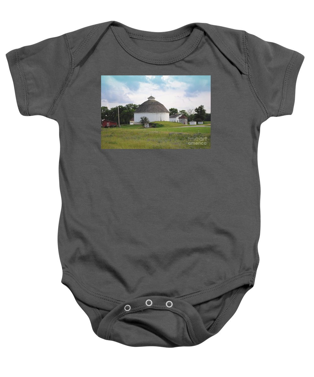 Round Baby Onesie featuring the photograph The Round Barn by Jost Houk