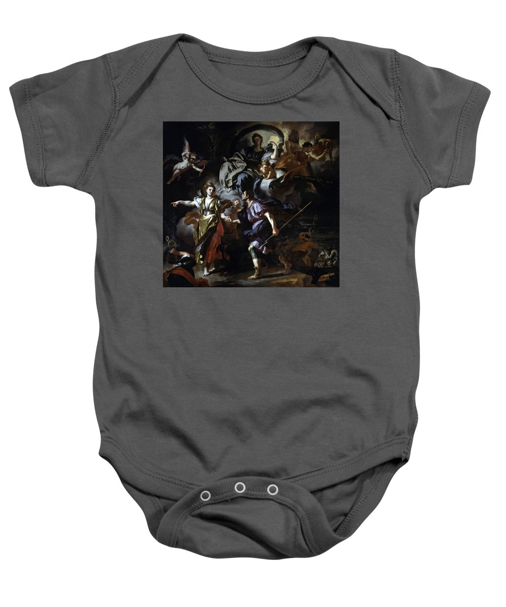 Francesco Solimena Baby Onesie featuring the painting The Royal Hunt Of Dido And Aeneas by Francesco Solimena