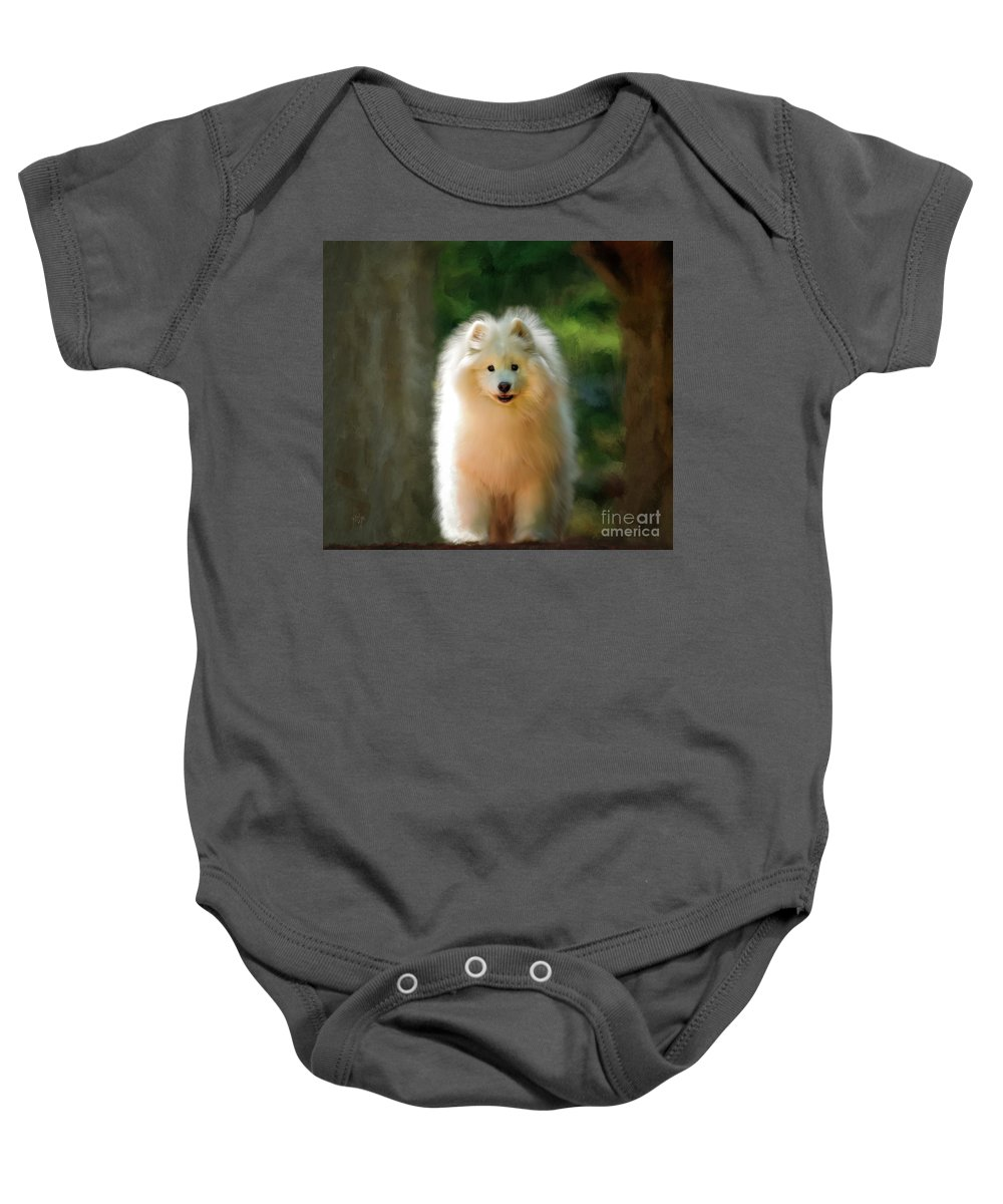 Dog Baby Onesie featuring the digital art The Samoyed Smile by Lois Bryan