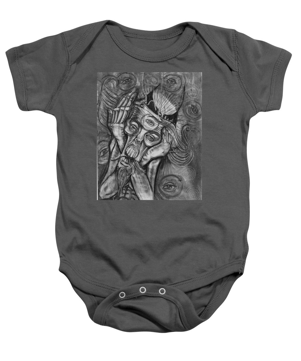 The Scream Baby Onesie featuring the drawing The Scream by Americo Salazar