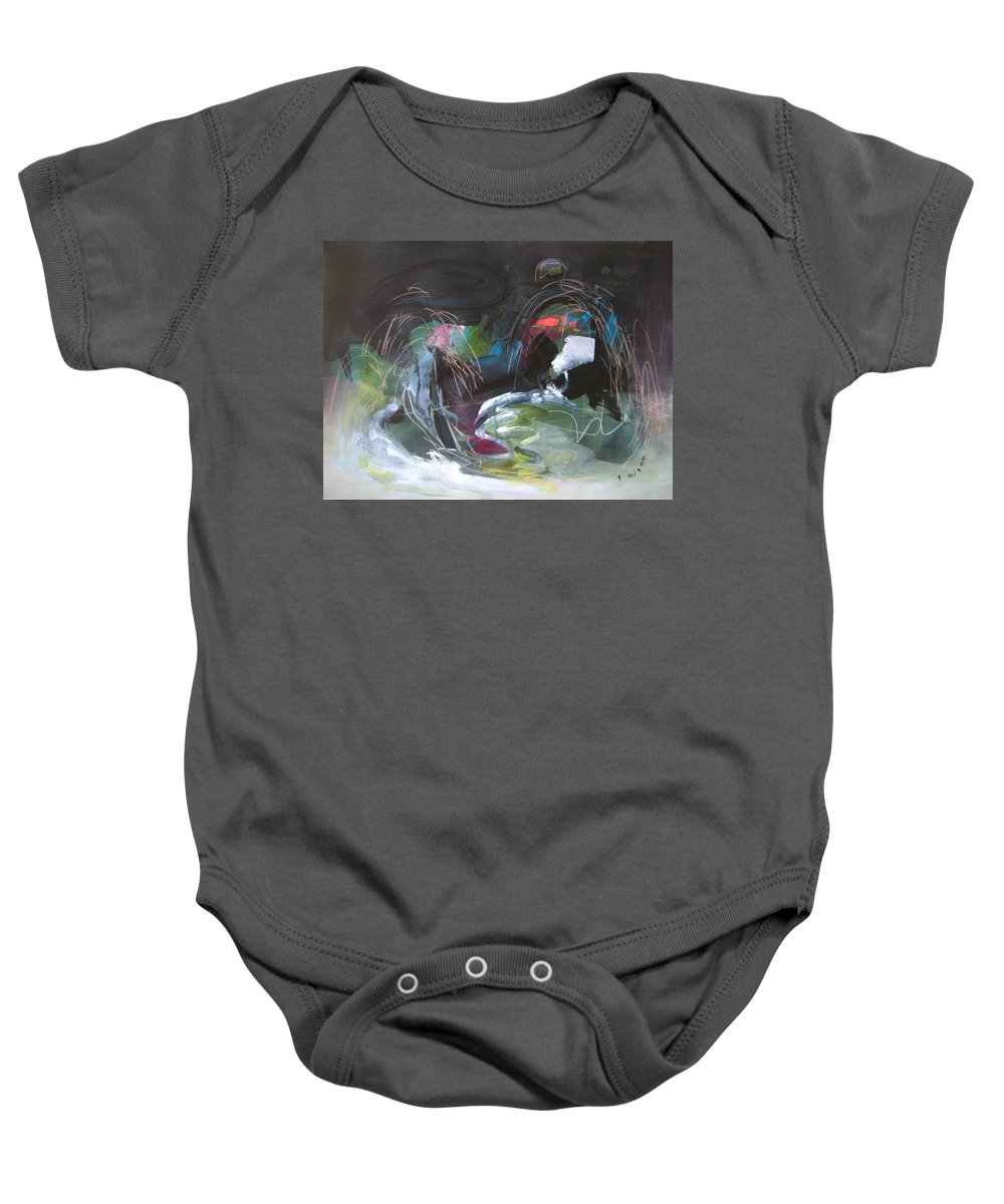 Abstract Baby Onesie featuring the painting The Secret Of The Shadow Original Abstract Colorful Landscape Painting For Sale Red Blue Green by Seon-Jeong Kim