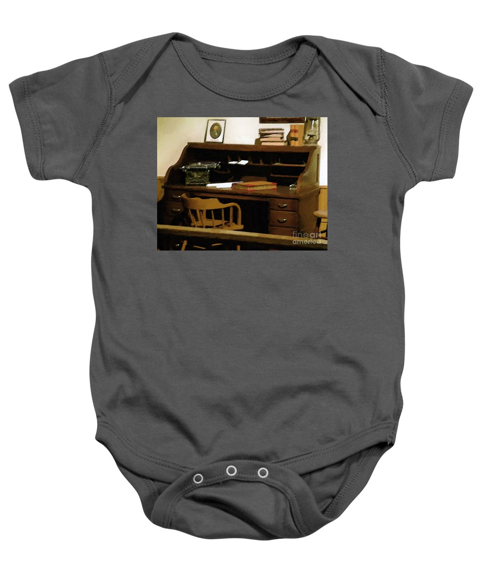 Antiques Baby Onesie featuring the digital art The Sheriff Is Out by RC deWinter