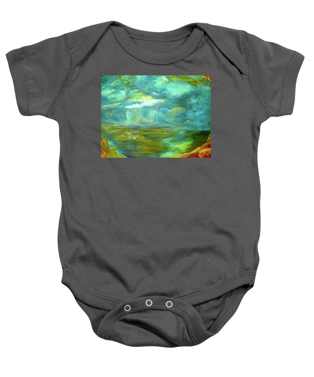 Prints Of Storybook River The Shoreline By Folk Artist J Sandoval Baby Onesie featuring the painting The Shoreline by Jeannine Sandoval