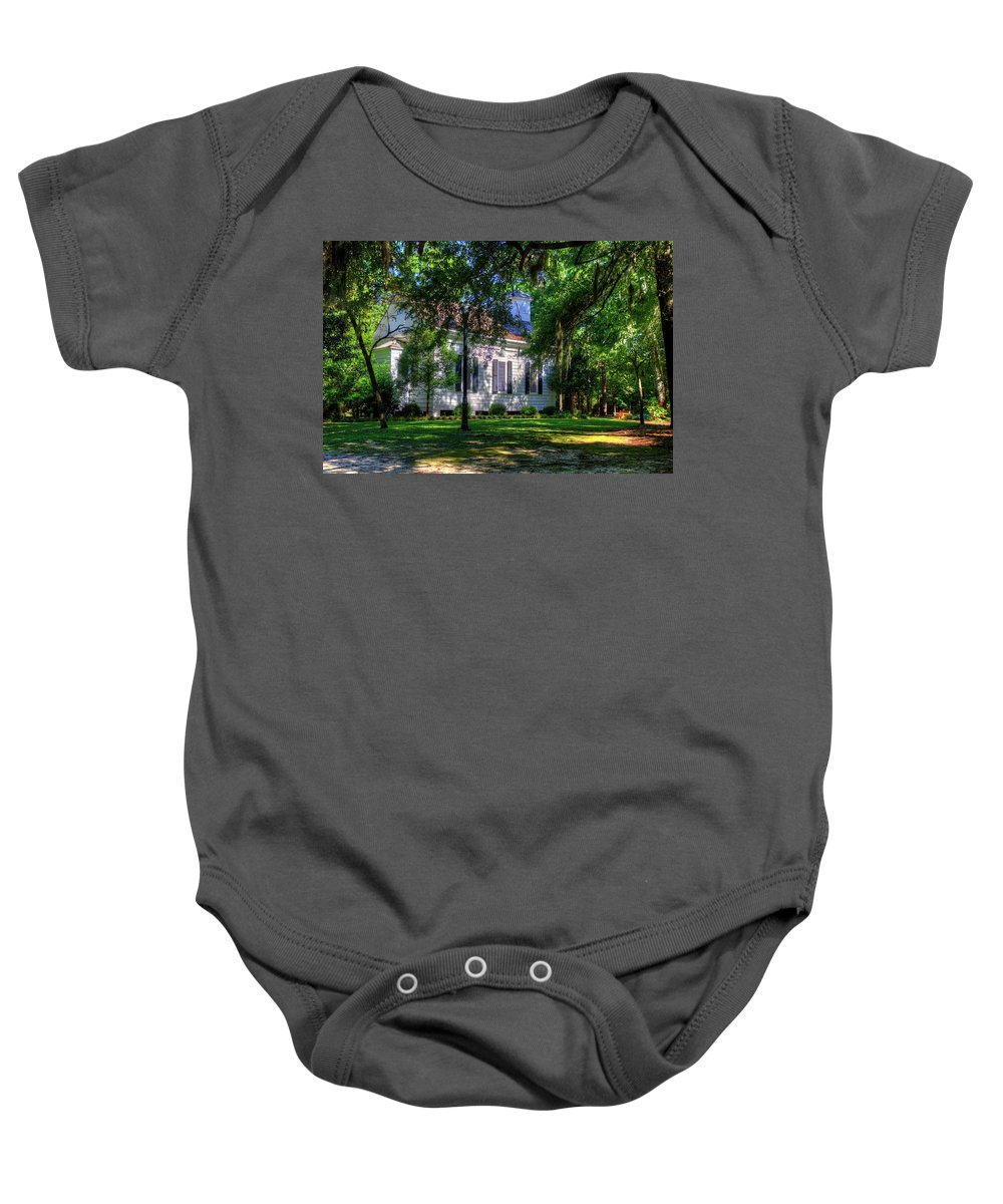 Church Baby Onesie featuring the photograph The Side Of A Small Church by TJ Baccari
