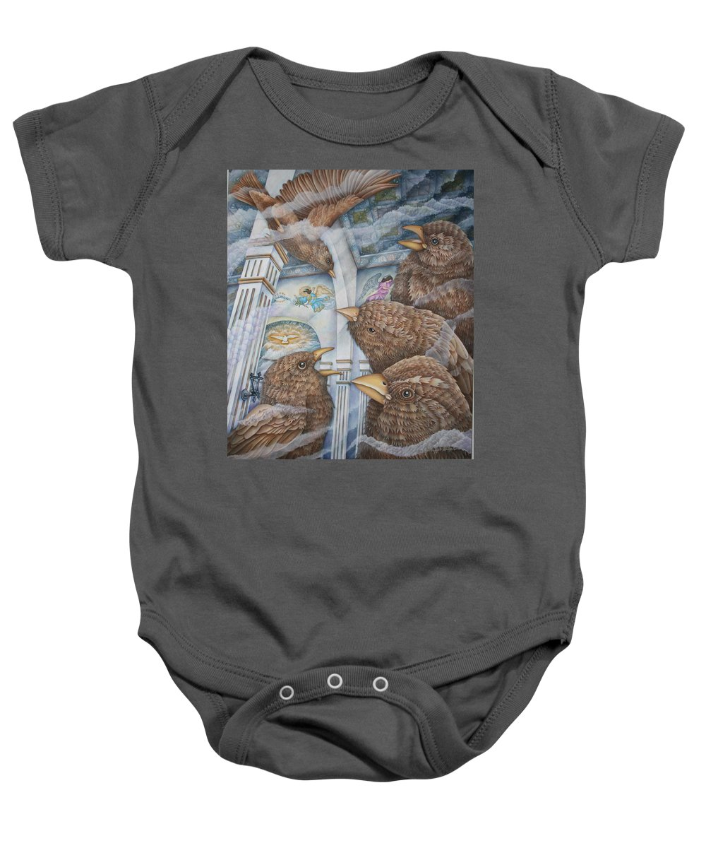 Birds Baby Onesie featuring the painting The Sparrows Of San Elizario by Jeniffer Stapher-Thomas