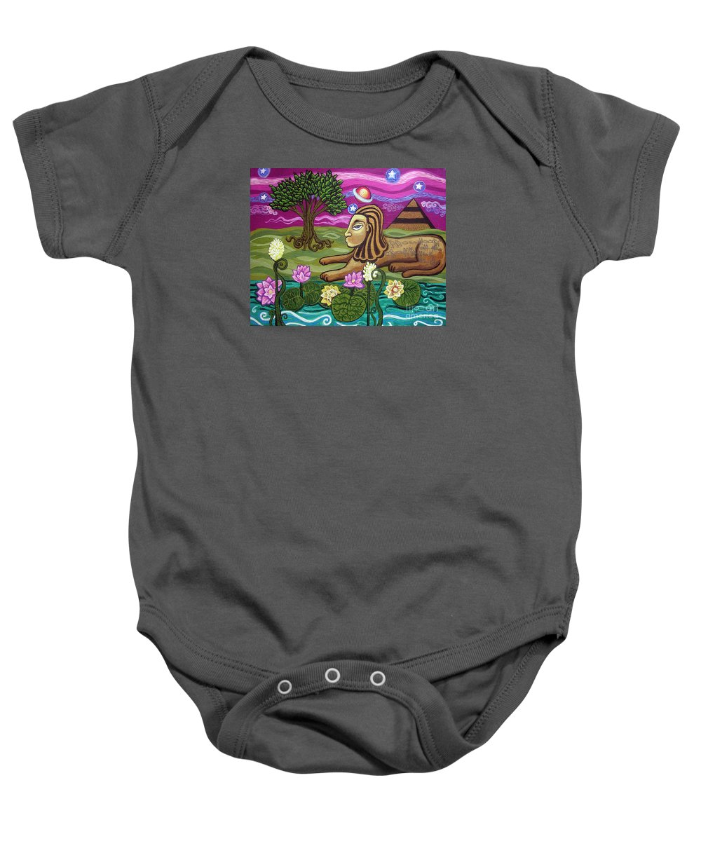 Egypt Baby Onesie featuring the painting The Sphinx by Genevieve Esson