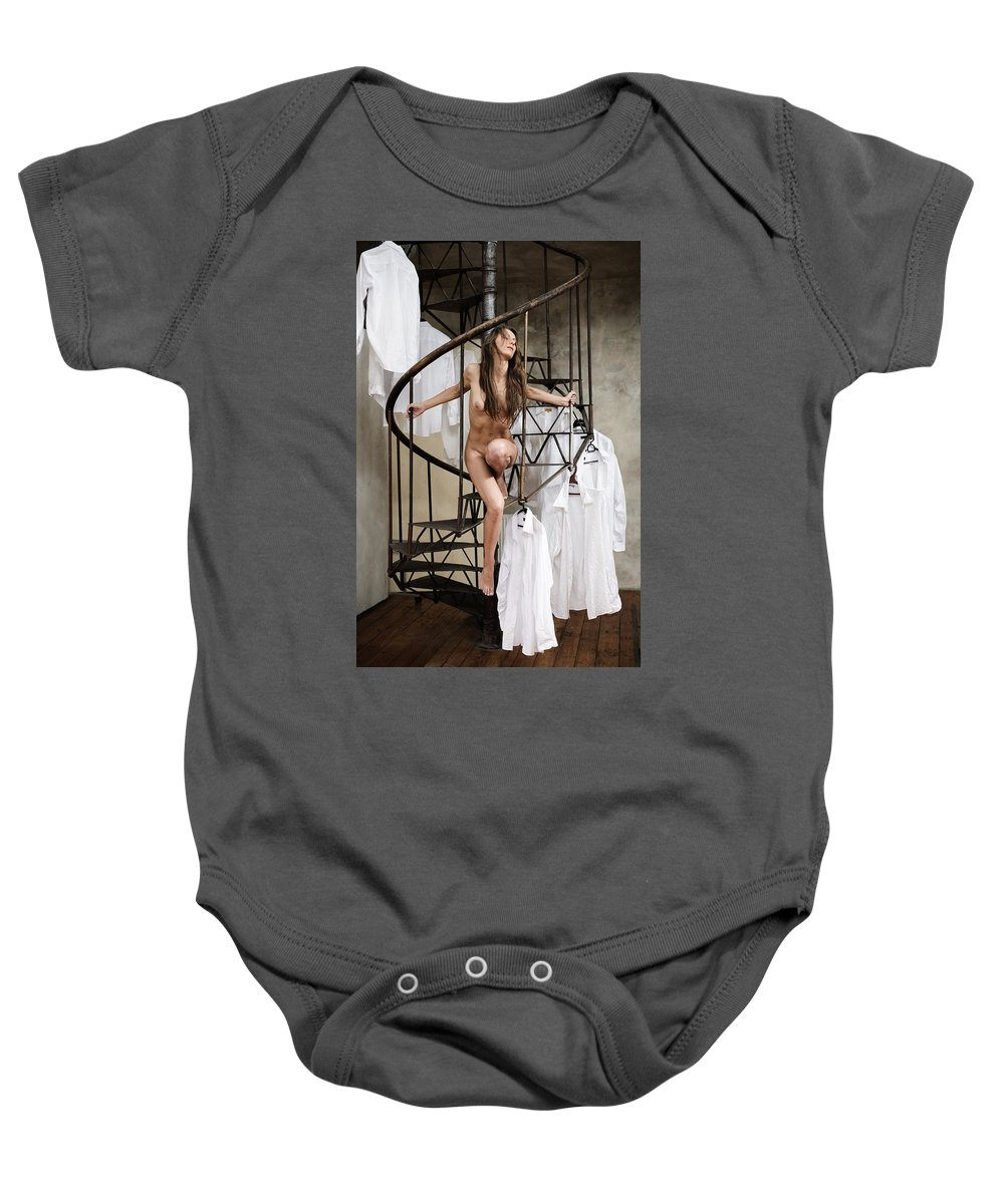 Sensual Baby Onesie featuring the photograph The Stairs by Olivier De Rycke