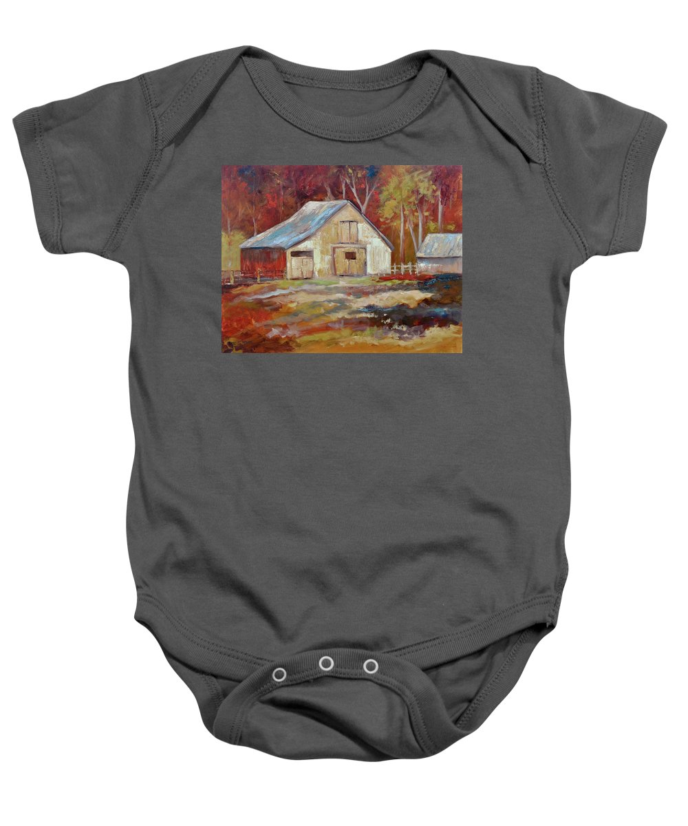 Barns Baby Onesie featuring the painting The Studio by Ginger Concepcion