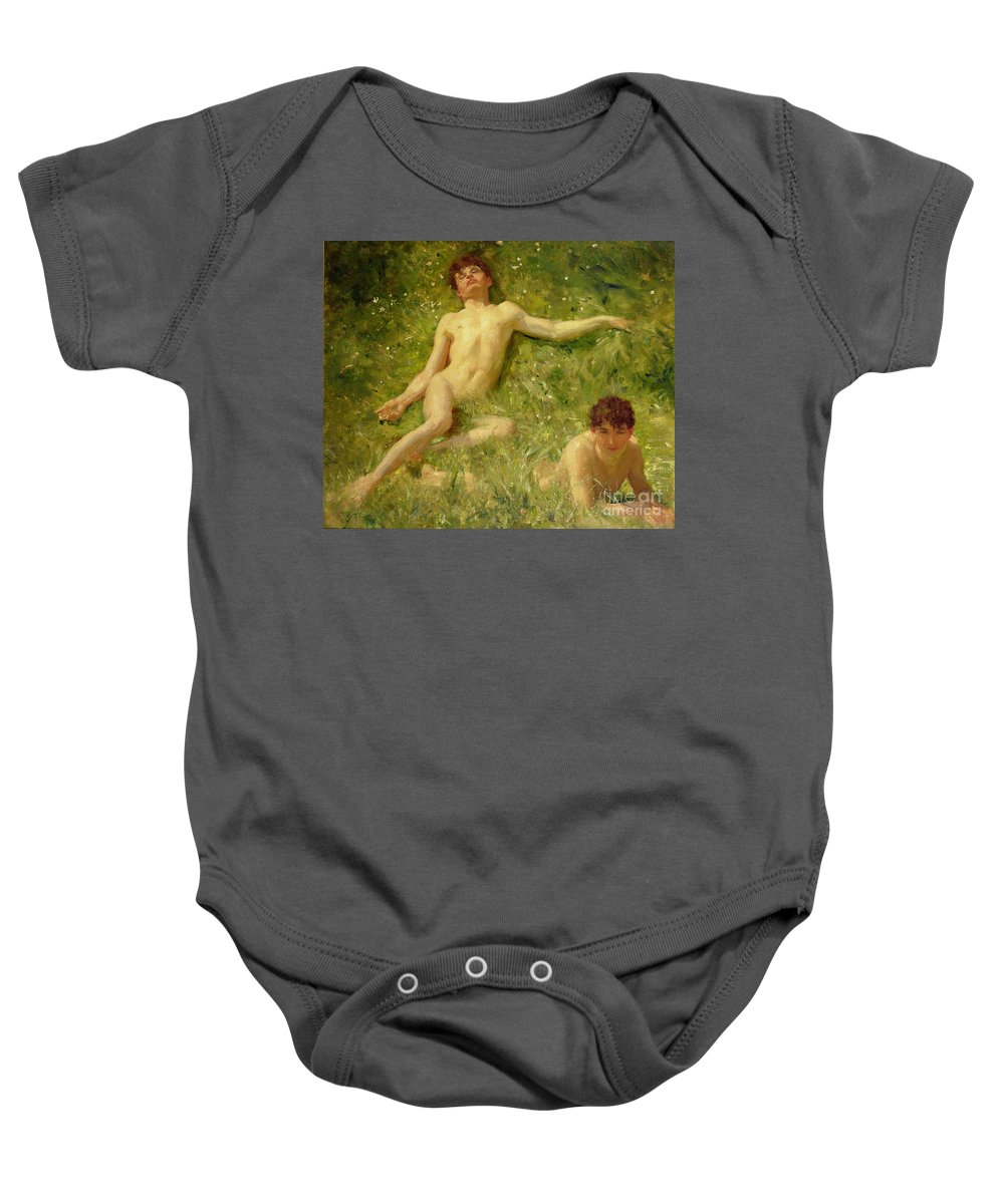 Nubile; Young; Boy; Abandon; Nude; Carefree; Homoerotic; Adolescent; Asleep; Sunbathing; Holiday; Summer; Newlyn School Baby Onesie featuring the painting The Sunbathers by Henry Scott Tuke